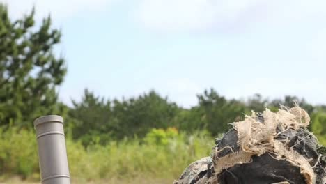 Us-Marines-In-Military-Camouflage-Fire-60Mm-Mortars-During-Combat-Training-Exercises-Camp-Hansen-Okinawa-Japan