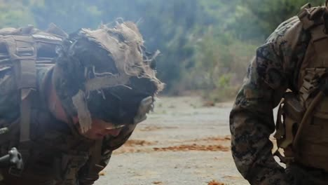 Us-Marines-In-Military-Camouflage-Fire-60Mm-Mortars-During-Combat-Training-Exercises-Camp-Hansen-Okinawa-Japan-1