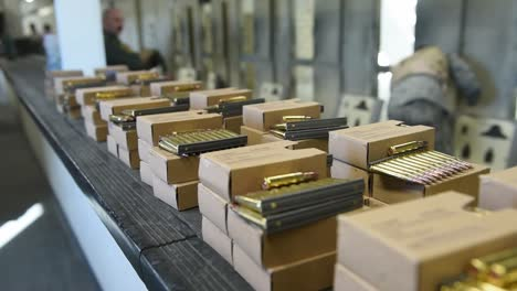 Us-Air-Force-Airmen-Collect-Ammunition-At-An-Indoor-Shooting-Range-On-the-Mountain-Home-Afb-In-Idaho