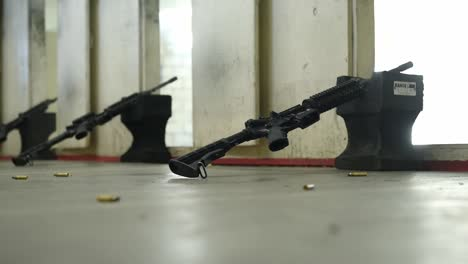 Us-Air-Force-Airmen-Practice-Marksmanship-At-An-Indoor-Shooting-Range-On-the-Mountain-Home-Afb-In-Idaho