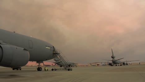 Time-Lapse-Of-Smoke-From-Forest-Fires-Rolls-Over-Kc10-Extenders-And-the-Flight-Line-At-Travis-Air-Force-Base-In-California