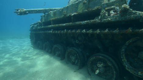 Underwater-footage-of-scuba-divers-exploring-a-sunken-tank-in-the-Red-Sea-near-Aqaba-Jordan-2