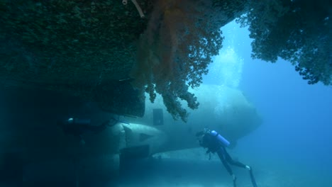 Underwater-footage-of-scuba-divers-exploring-a-sunken-plane-in-the-Red-Sea-near-Aqaba-Jordan-2