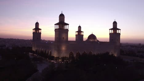 Beautiful-Rising-Aerial-Shot-At-Dusk-Of-The-Islamic-Mosque-In-Downtown-Amman-Jordan