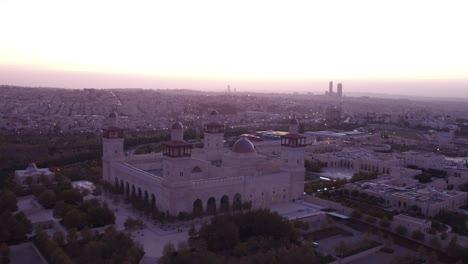 Beautiful-Aerial-Shot-At-Dusk-Of-The-Islamic-Mosque-In-Downtown-Amman-Jordan