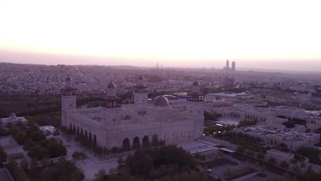 Beautiful-Aerial-Shot-At-Dusk-Of-The-Islamic-Mosque-In-Downtown-Amman-Jordan-1