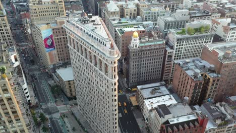 An-aerial-view-shows-the-Flatiron-Building-and-its-surrounding-cityscape-in-New-York-City-New-York
