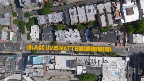 High-aerial-over-the-Black-Lives-Matter-BLM-mural-on-street-top-down-Brooklyn-New-York