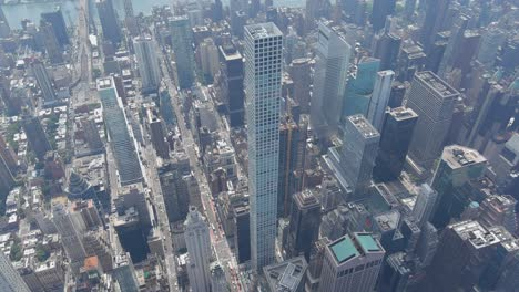 Amazing-aerial-over-432-Park-Ave-residential-skyscraper-and-Manhattan-New-York-City