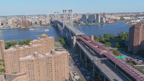 Very-good-aerial-of-the-Williamsburg-Bridge-connecting-New-York-City-and-Brooklyn-over-the-East-River