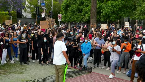 Protesters-Listen-To-Speaker-During-A-Black-Lives-Matter-Blm-March-In-Los-Angeles-Following-The-George-Floyd-Murder-1