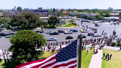 Good-Aerial-Over-Protesters-Chanting-And-Marching-National-Guard-During-A-Black-Lives-Matter-Blm-Parade-In-Ventura-California-2