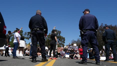 Protesters-Chanting-And-Standing-Off-With-Police-And-National-Guard-During-A-Black-Lives-Matter-Blm-Parade-In-Ventura-California