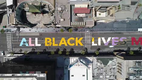 High-Aerial-Over-The-All-Black-Lives-Matter-Blm-Mural-On-Street-Top-Down-Hollywood-Blvd-Los-Angeles-California-2