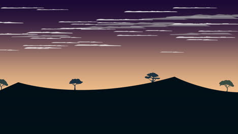 Cartoon-animation-background-with-sunset-and-mountain-abstract-backdrop