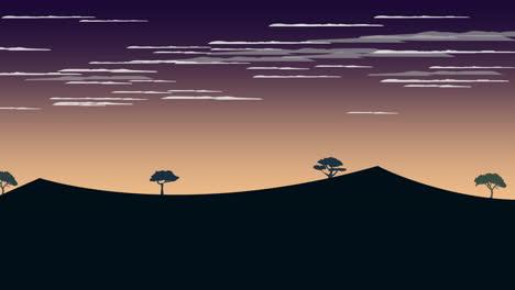 Fondo-De-Animación-De-Dibujos-Animados-Con-Fondo-Abstracto-De-Puesta-De-Sol-Y-Montaña