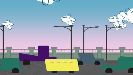 Fondo-De-Animación-De-Dibujos-Animados-Con-Nubes-De-Movimiento-Y-Coches-Sobre-Fondo-De-Paisaje-Urbano-Abstracto-De-Carretera