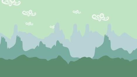 Fondo-De-Animación-De-Dibujos-Animados-Con-Fondo-Abstracto-De-Montaña-Y-Nubes