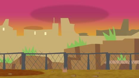 Cartoon-Animationshintergrund-Mit-Sonnenuntergang-Und-Abstraktem-Hintergrund-Der-Gebäude