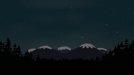 Cartoon-animation-background-with-forest-and-montaña-with-stars-sky-abstract-backdrop