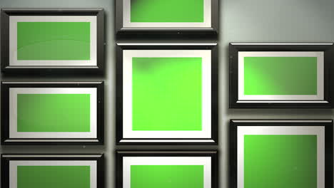 Motion-camera-in-art-gallery-with-picture-and-modern-frame-with-green-mock-up-screen-art-background-1