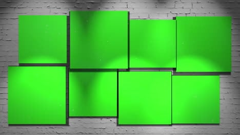 Motion-camera-in-art-gallery-with-picture-and-modern-frame-with-green-mock-up-screen-art-background-2