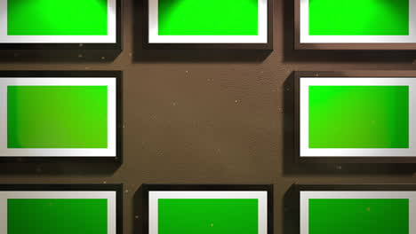 Motion-camera-in-art-gallery-with-picture-and-modern-frame-with-green-mock-up-screen-art-background-3