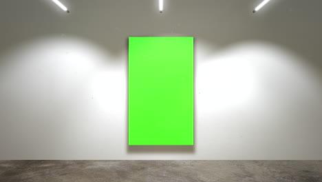Cámara-De-Movimiento-En-La-Galería-De-Arte-Con-Imagen-Y-Marco-Moderno-Con-Fondo-De-Arte-De-Pantalla-De-Maqueta-Verde