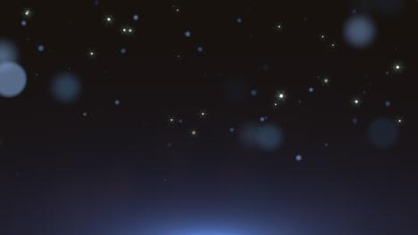 Movimiento-Y-Volar-Partículas-Azules-Y-Bokeh-Redondo-Sobre-Fondo-Oscuro