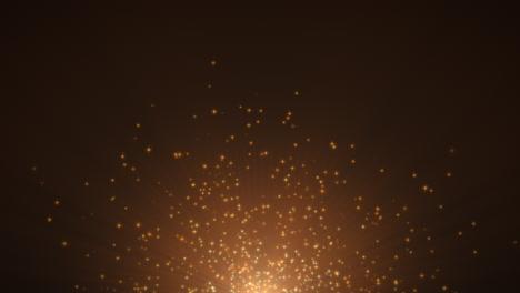 Movimiento-Y-Volar-Estrellas-Amarillas-Y-Brillos-Sobre-Fondo-Oscuro