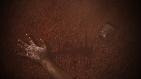 Mystical-abstract-horror-background-with-dark-blood-hands-and-telephone