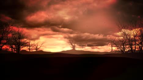 Fondo-De-Halloween-De-Animación-Mística-Con-Nubes-Oscuras-Y-Montañas-Como-Telón-De-Fondo-Abstracto