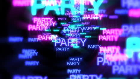 Motion-of-neon-text-Party-in-dark-background