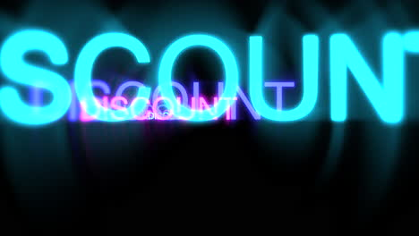 Motion-of-neon-text-Discount-in-dark-background