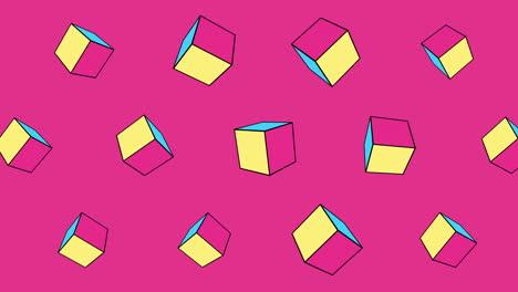 Movimiento-Cubos-Geométricos-Abstractos-Fondo-De-Memphis-Rosa