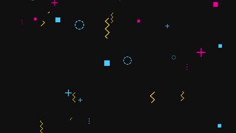 Movimiento-Puntos-Geométricos-Abstractos-Cruces-En-Zigzag-Y-Cuadrados-Fondo-Negro-De-Memphis