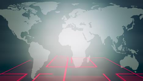 Animación-Gráfica-De-Noticias-Con-Cuadrícula-Y-Fondo-Abstracto-De-Mapa-Mundial