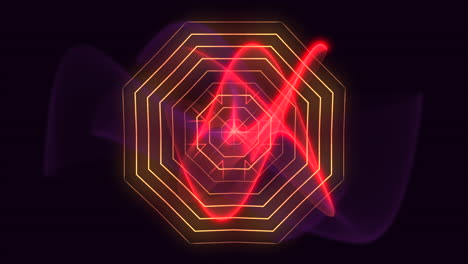 Animation-abstract-neon-red-waves-motion-disco-background