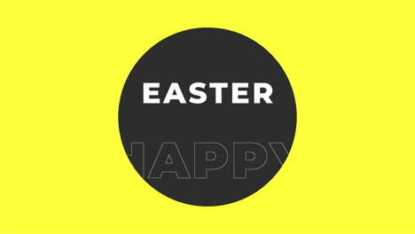 Animation-text-Happy-Easter-on-yellow-fashion-and-minimalism-background-with-geometric-circle