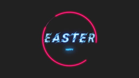 Animation-text-Happy-Easter-on-fashion-and-club-background-with-glowing-red-circle