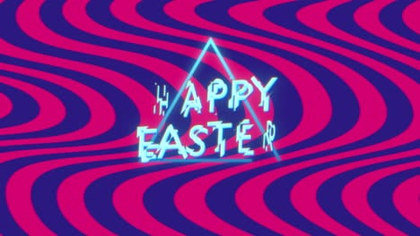 Animation-text-Happy-Easter-on-blue-and-red-waves-hipster-and-grunge-background