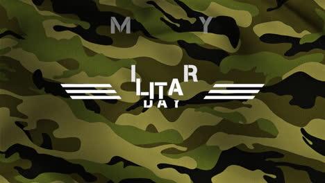 Texto-De-Animación-Día-Militar-Sobre-Fondo-Verde-Militar