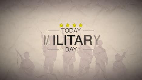 Animación-Texto-Día-Militar-Sobre-Fondo-De-Guerra-Con-Silueta-De-Soldados
