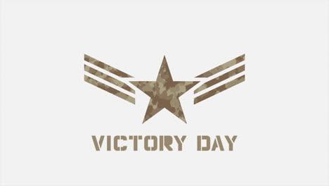 Animación-Texto-Día-De-La-Victoria-Sobre-Fondo-Militar-Con-Sellos-Y-Estrellas