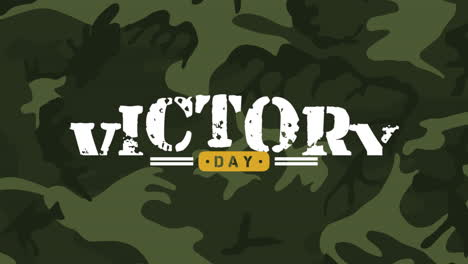 Animación-Texto-Día-De-La-Victoria-Sobre-Fondo-Verde-Militar