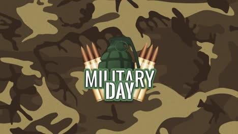 Animación-Texto-Día-Militar-Sobre-Fondo-Verde-Militar-Con-Patrocinadores
