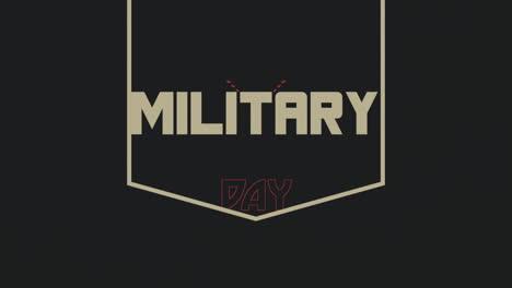 Animación-Texto-Día-Militar-Sobre-Fondo-Militar-Con-Sellos-Y-Estrellas
