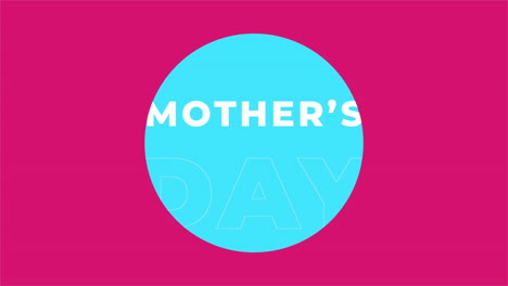 Animation-text-Mothers-Day-on-pink-fashion-and-minimalism-background-with-blue-geometric-circle