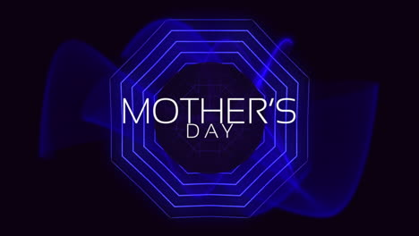 Animation-text-Mothers-Day-on-fashion-and-club-background-with-glowing-blue-circles-and-waves