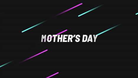 Animation-text-Mothers-Day-on-black-fashion-and-minimalism-background-with-pink-and-green-lines